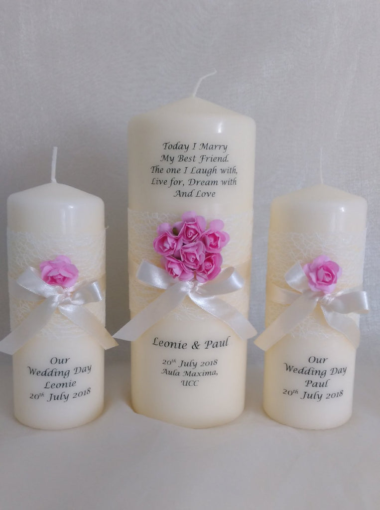 Wedding Candle - Rose Quartz Design, Pink - Large