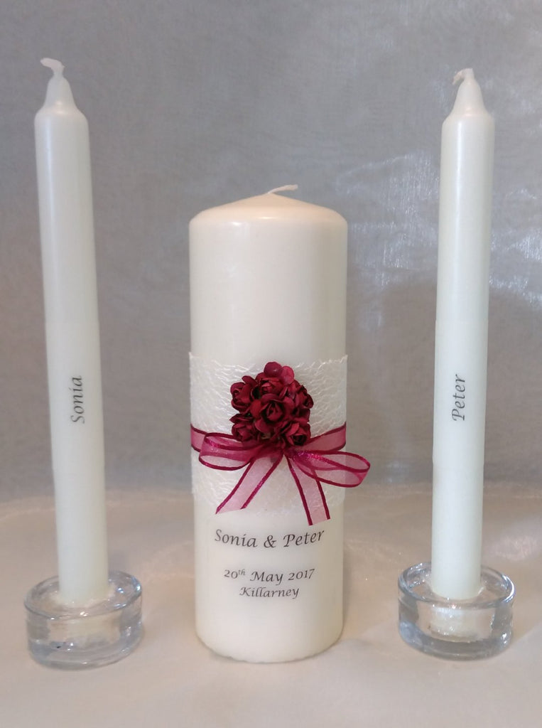 Wedding Candle - Rose Quartz Design, Burgundy