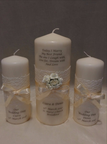 personalised candles, wedding candles, unity candles, wedding ceremony, unity ceremony, wedding candles Ireland, best friend
