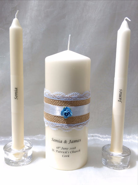 personalised candles, wedding candles, unity candles, rustic candle, vintage, wedding ceremony, unity ceremony, wedding candles Ireland