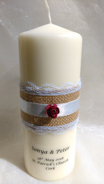 Wedding Candle - Rustic Belle, Burgundy