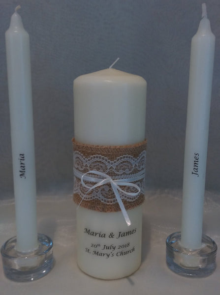 Wedding Candle - Rustic Lace, Ivory