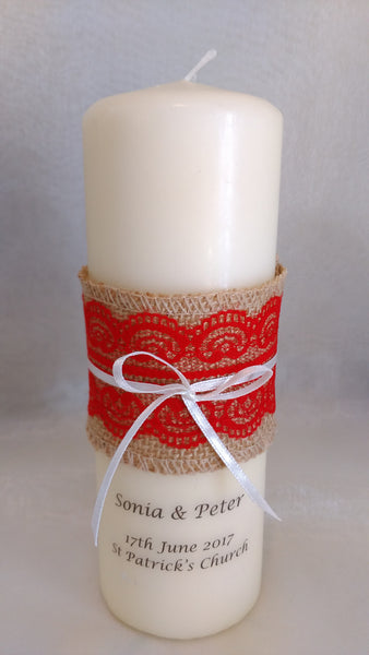 personalised candles, wedding candles, unity candles, rustic candle, vintage, lace, wedding ceremony, unity ceremony, wedding candles Ireland