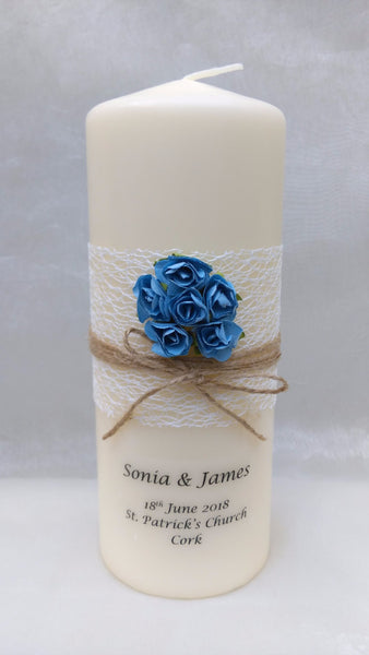 personalised candles, wedding candles, unity candles, rustic candle, vintage, rose, wedding ceremony, unity ceremony, wedding candles Ireland