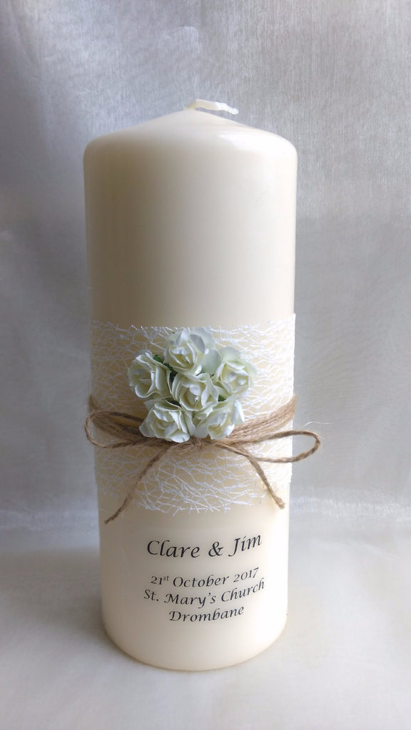Personalised candles wedding unity candle for