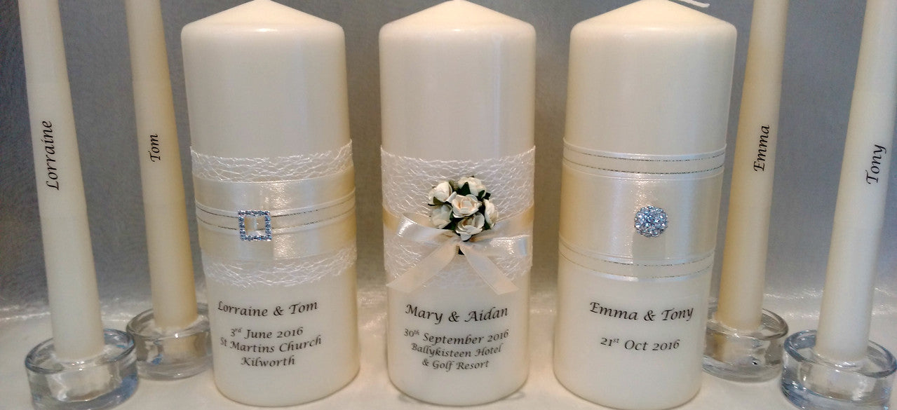 Personalised candles, wedding candles, unity candles, wedding ceremony, unity ceremony