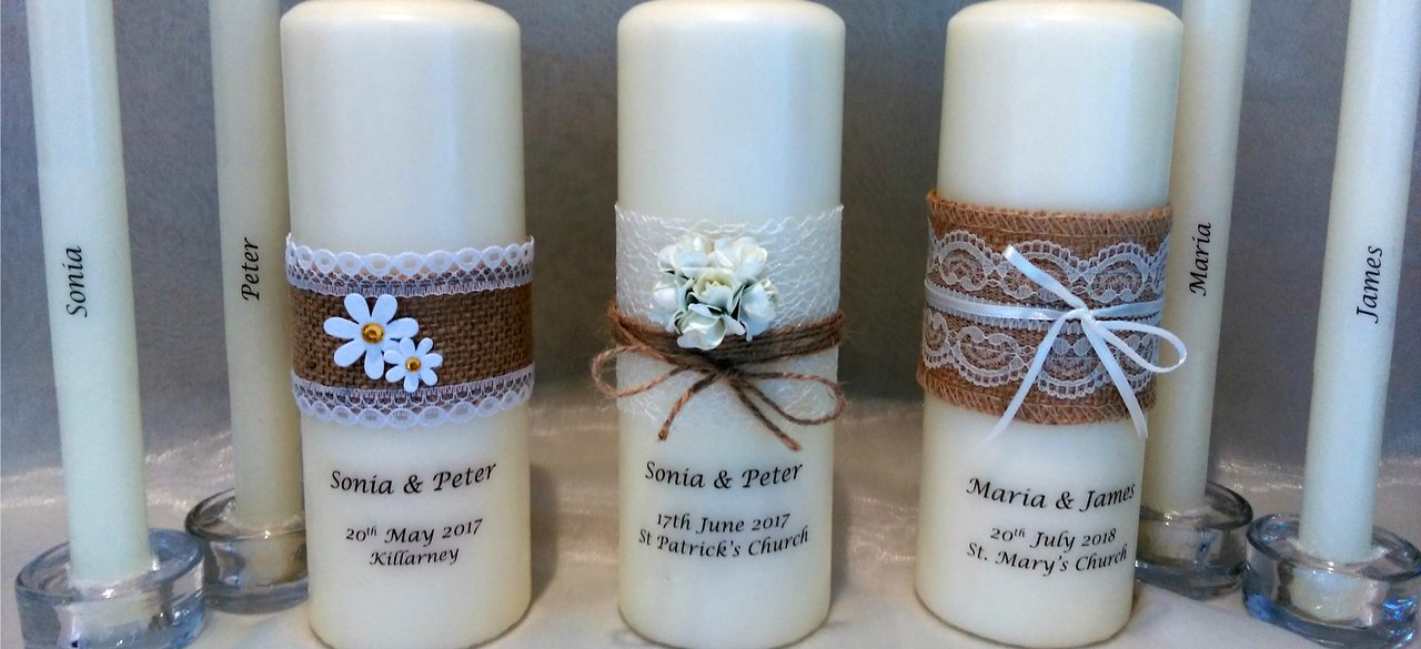 Personalised candles, wedding candles, unity candles, rustic candles