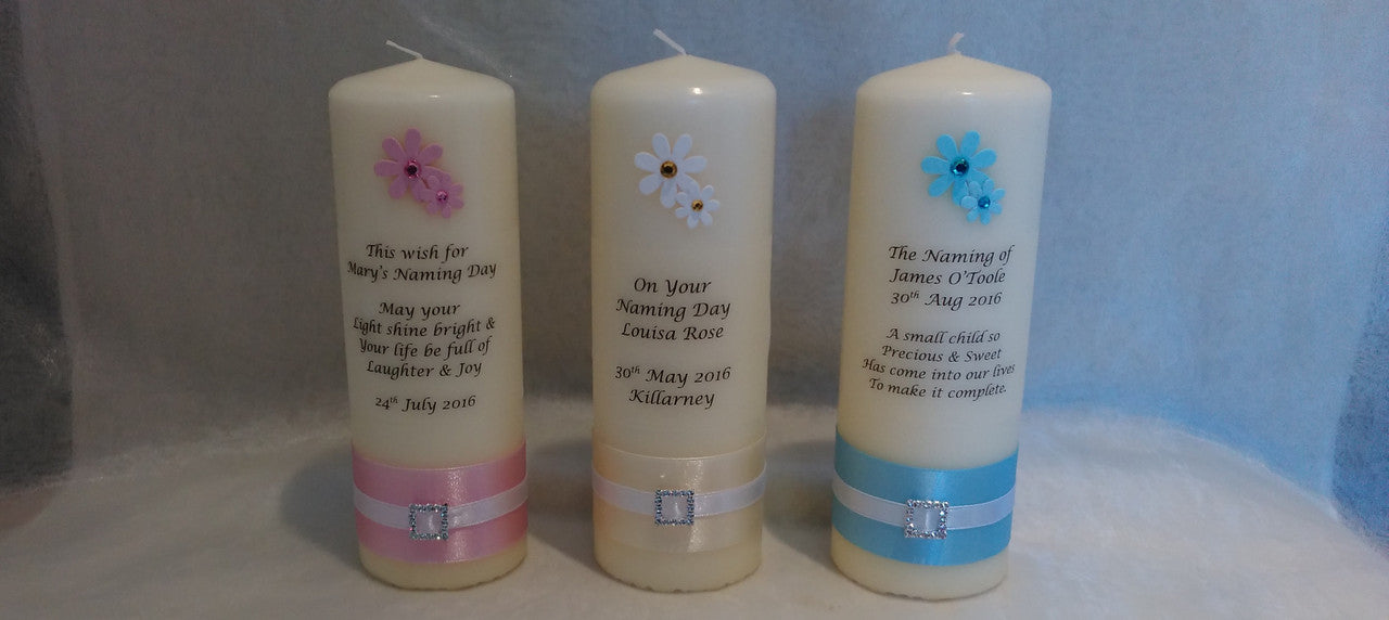 Personalised candles, naming day candle, christening candle