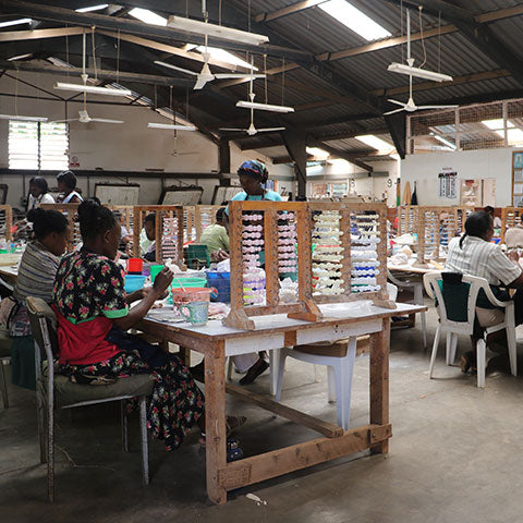 The making of the clay beads in Nairobi for our fair trade handmade jewelry collection with our pearl necklace.