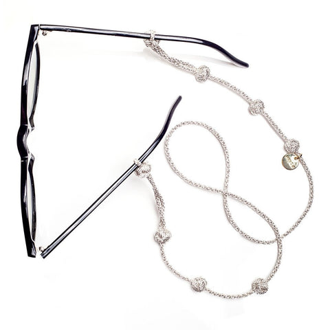 Handmade sunglass straps in silver- for a hippie look.