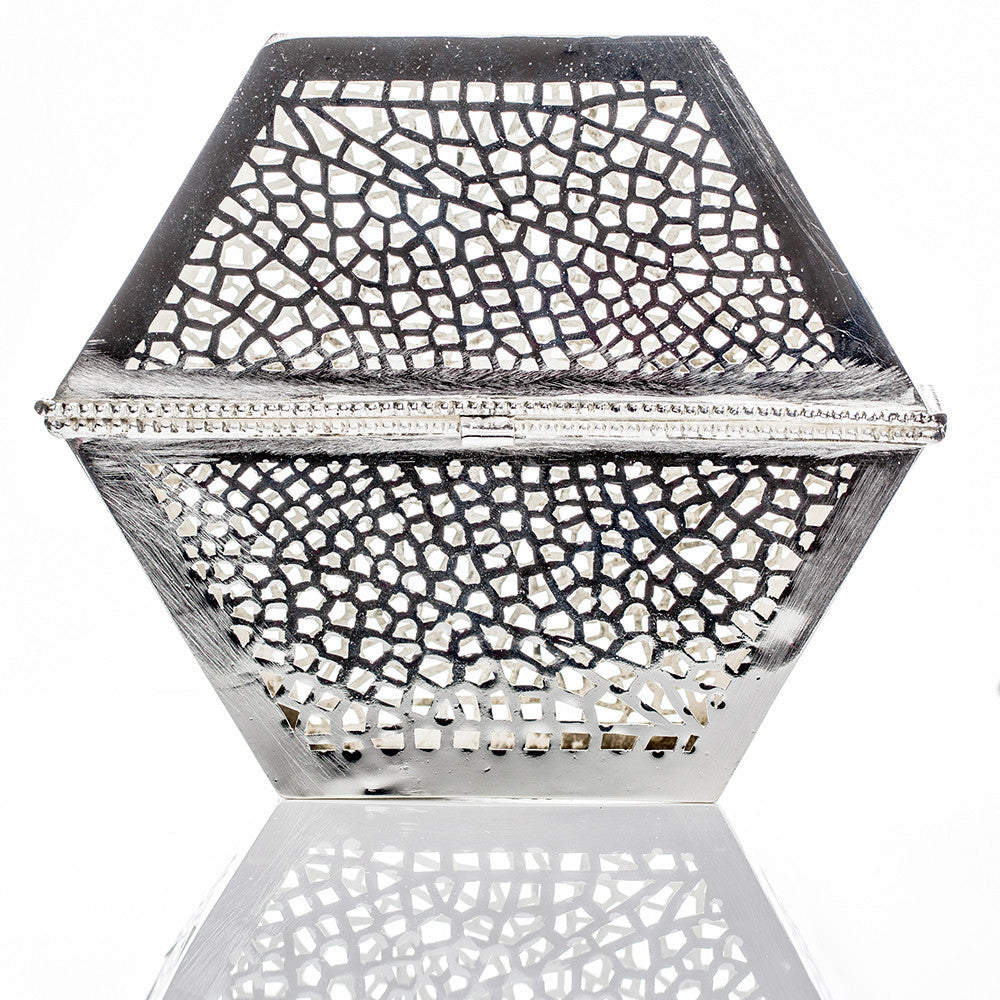 Clutch purse silver - handmade in Morocco. A real piece of North African art.