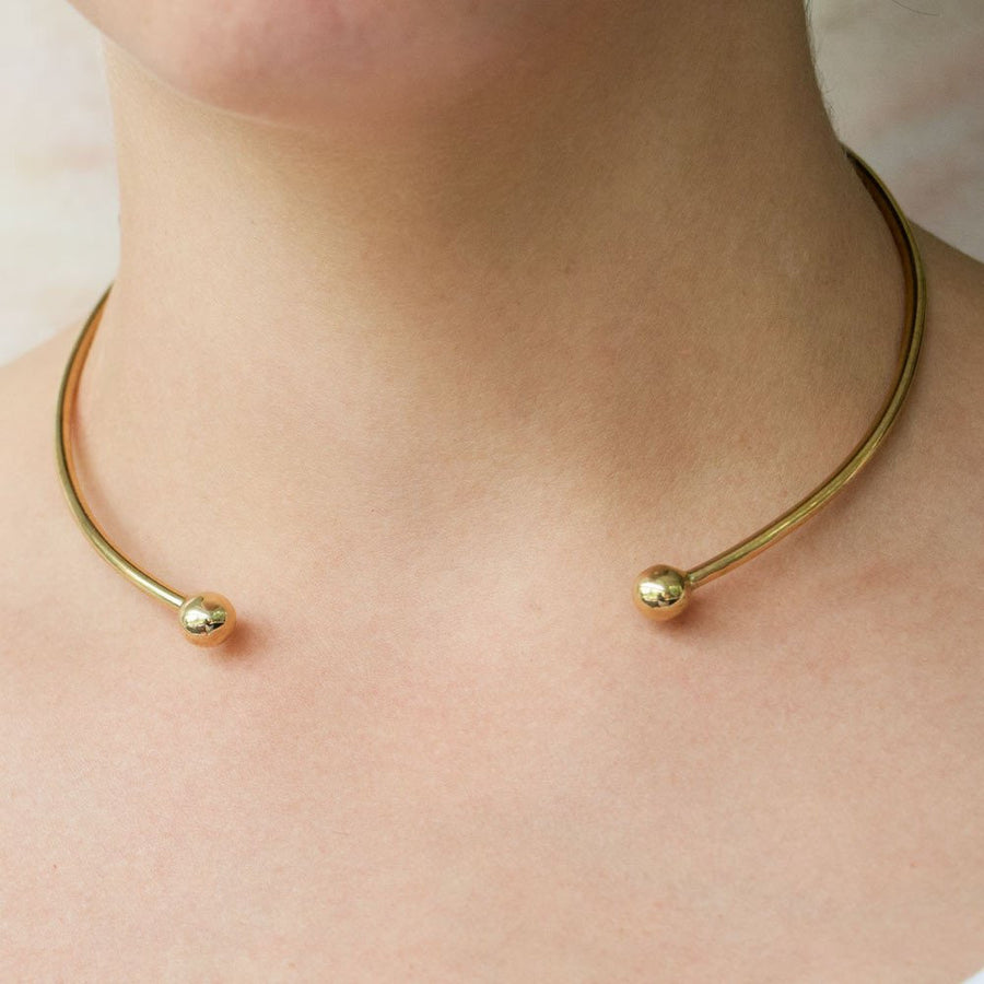 Simple gold choker - african necklace handmade in Kenya.
