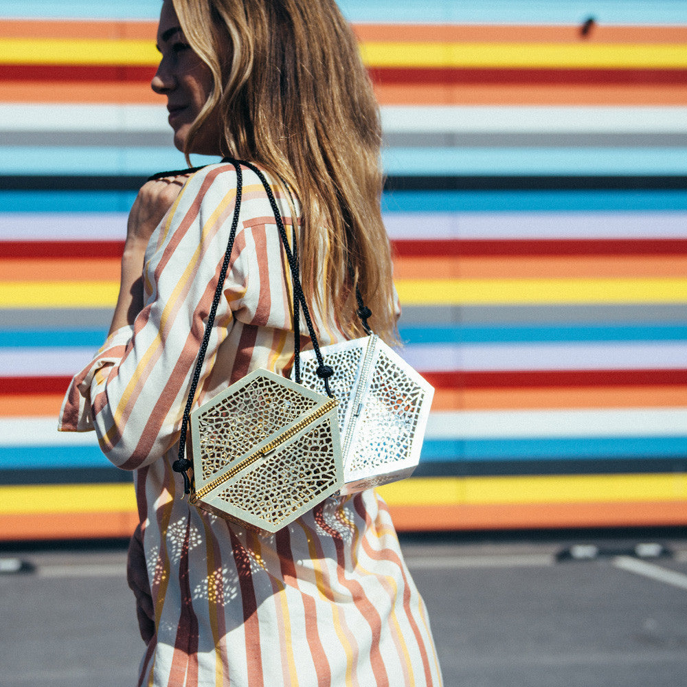 One shoulder bag in gold and silver - handmade in Morocco
