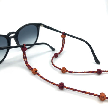 "Sunglass Strap Bordeaux/Orange ""Knot"""
