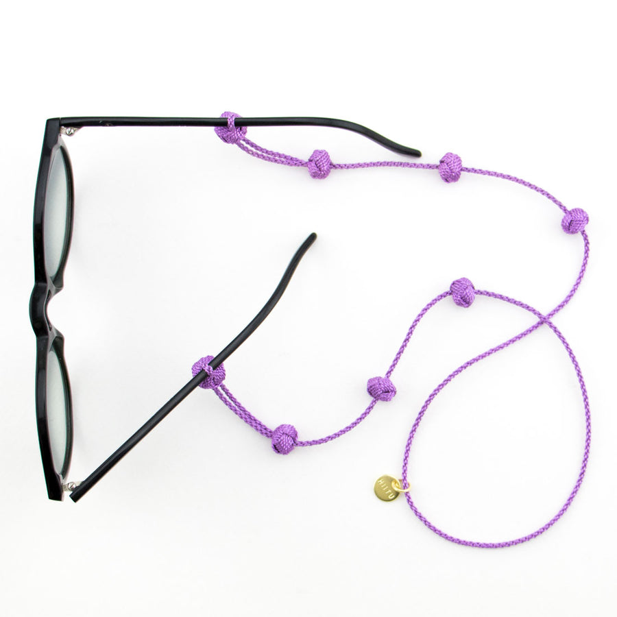 Fairtrade fashion: sunglass straps in purple handmade in Morocco