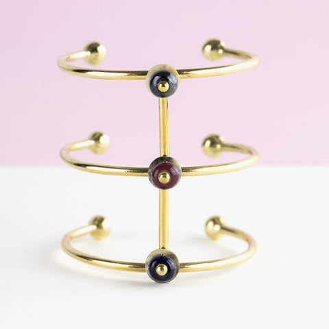 African style cuff bracelet - arm bracelet in metallic, bordeaux and midnight blue