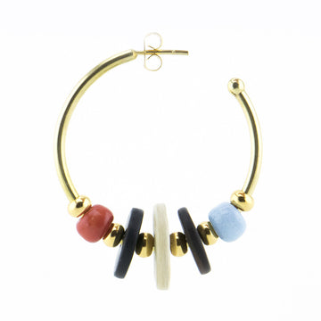 Gold hoop earrings large DIY - with coral and light blue pearls in many African colours