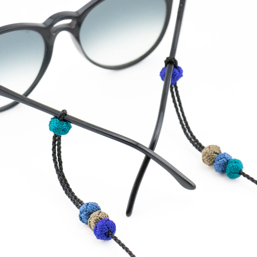"Sunglass Strap Black/Blues ""Knot"""