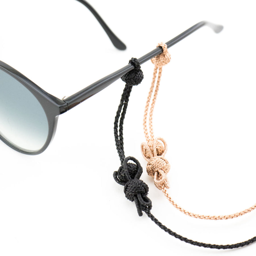 "Sunglass Strap Black ""Flower"""