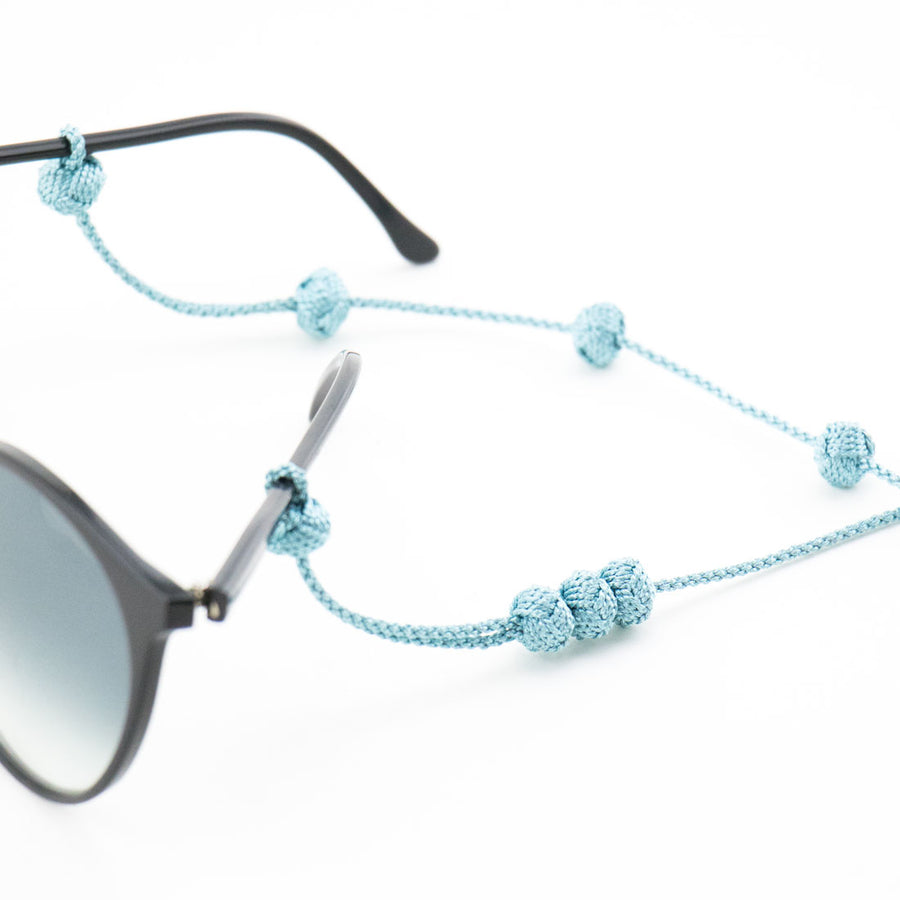 "Sunglass Strap Blue Metallic ""Knot"""