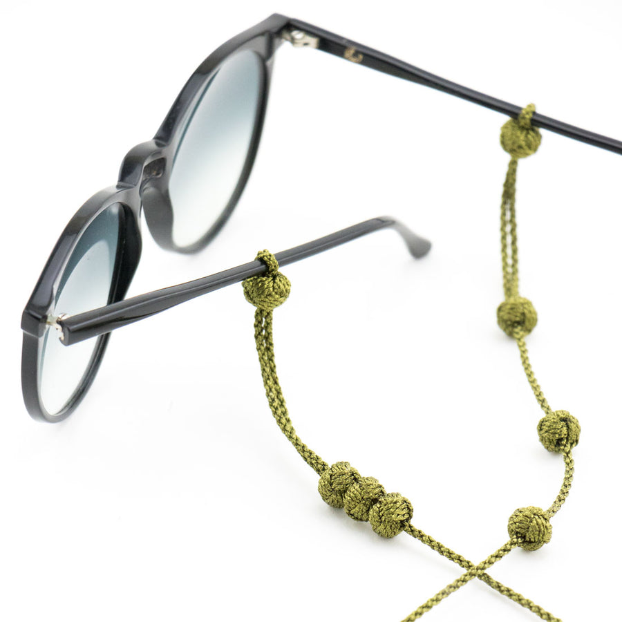 "Sunglass Strap Green Metallic ""Knot"""