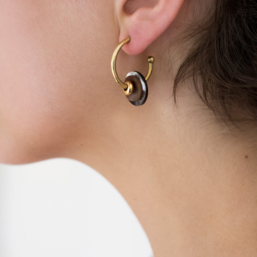 Gold hoop earrings small DIY - with pearls in many African colours