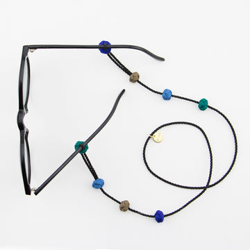 Fairtrade fashion: sunglass straps in black and blues handmade in Morocco