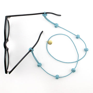 Fairtrade fashion: sunglass straps in light blue handmade in Morocco