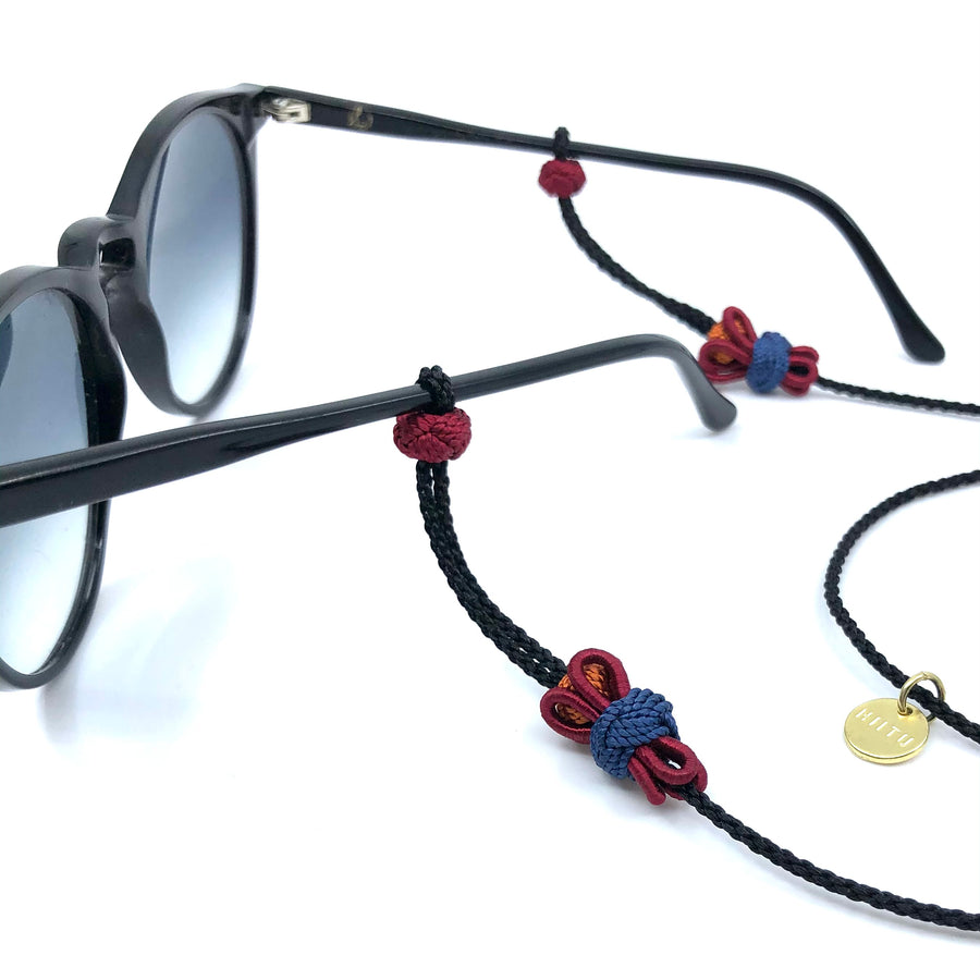 "Sunglass Strap Black/Multi ""Flower"""