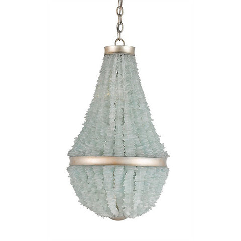 Seaglass & Silver Leaf Chandelier