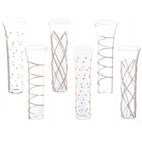 Erica Champagne Flutes with Gold Accents, Set of 6