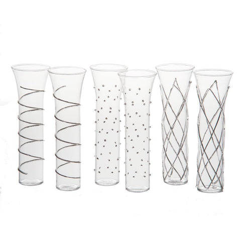 Erica Champagne Flutes with Silver Accents, Set of 6