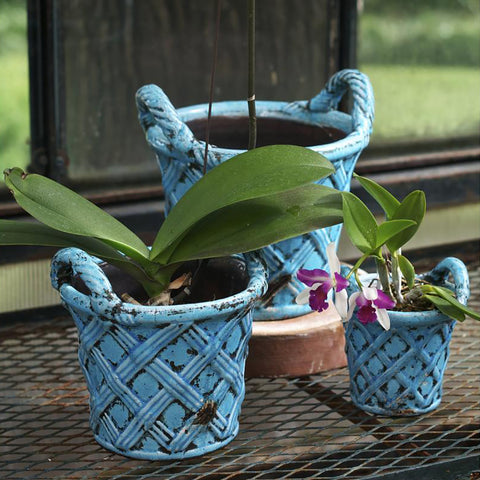 Tuscany Planter Set, Basket Design, Turquoise