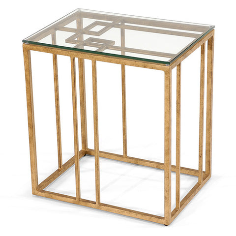 Geometric Accent Table in Antique Gold Leaf by Chelsea House