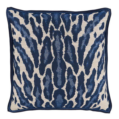 Lacefield Kenya Indigo Animal Print Pillow with Blue Double Flange