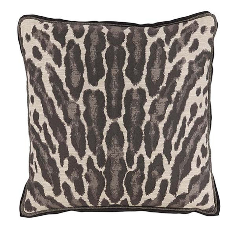 Lacefield Kenya Graphite Animal Print Pillow with Grey Double Flange