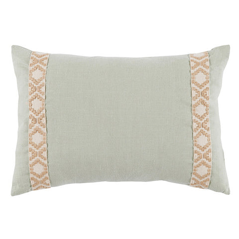 Lacefield Seafoam Mint Linen Side Border Lumbar Pillow
