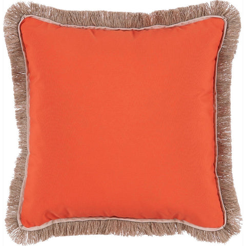 Lacefield Outdoor Fringe Throw Pillow in Melon with Sand Flange