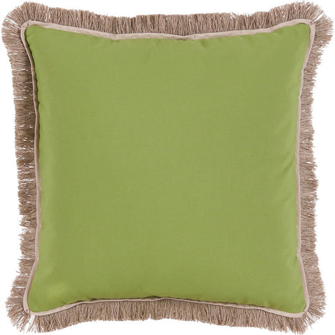 Lacefield Outdoor Fringe Throw Pillow in Ginko with Sand Flange