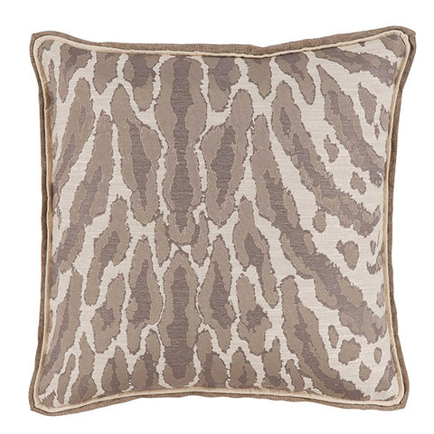 Lacefield Kenya Natural Animal Print Pillow with Neutral Double Flange
