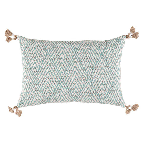 Lacefield Tahitian Stitch Horizon Lumbar Pillow with Tassels