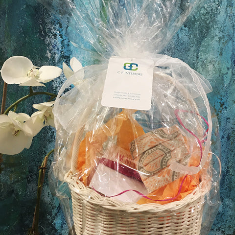 Gift Basket with Notepad & Designer Face Mask