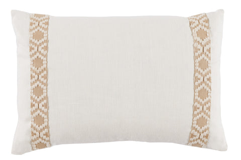 Lacefield Eggshell White Linen Side Border Lumbar Pillow