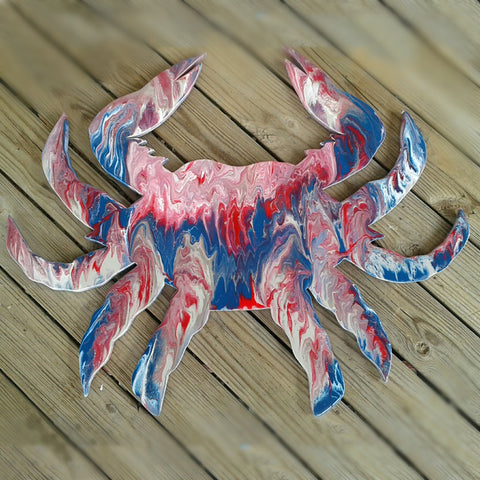 Crab Resin Plaque, Red, White & Blue