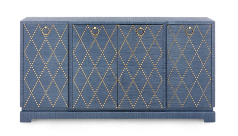 Blue Lacquered Grasscloth Sideboard with Gold Nailhead Accents