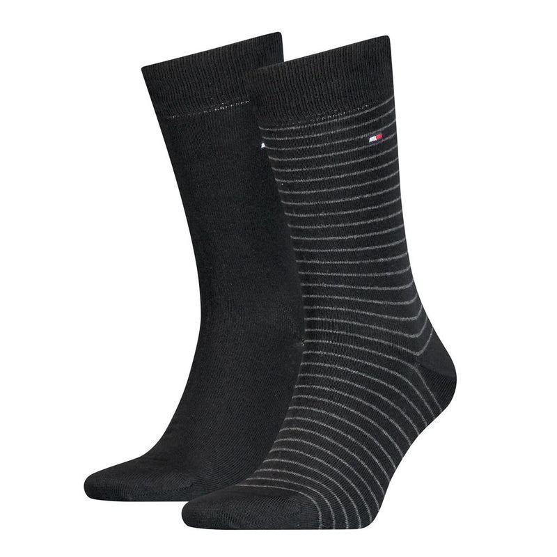 Tommy Hilfiger Fine Stripe Socks 2 Pack - Black