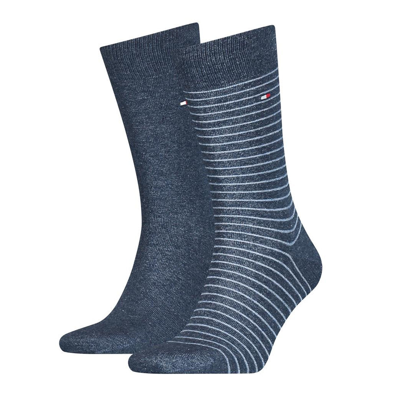 Tommy Hilfiger Fine Stripe Socks 2 Pack - Jeans Blue