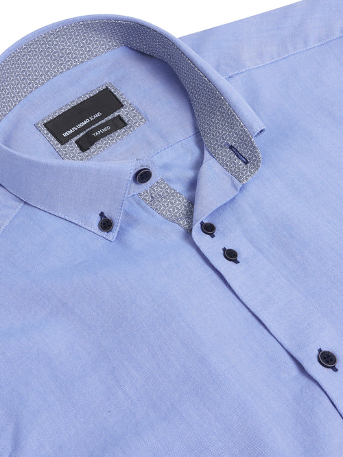 Remus Uomo Tapered Fit Casual Shirt - Blue