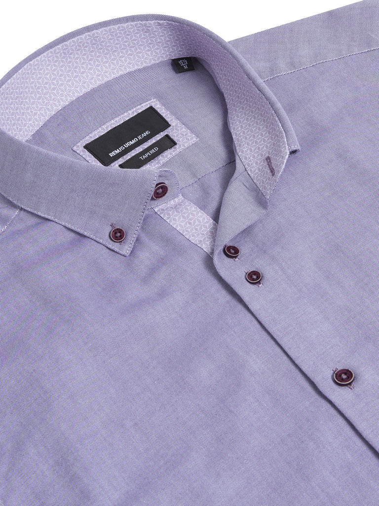 Remus Uomo Tapered Fit Casual Shirt - Lilac