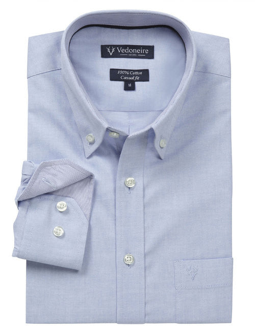 Vedoneire Oxford Cotton Casual Shirt - Blue